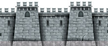Stone Castle Wall Background, Vector Seamless Brick Medieval Tower Texture, Rock City Fortification Building. Gray Kingdom Fortress Illustration, Game Design Element. Stone Wall, Loophole, Windows