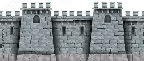 Tablou Canvas Stone castle wall background, vector seamless brick medieval tower texture, rock city fortification building