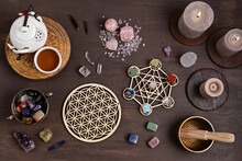 Healing Chakra Crystal Grid Therapy. Rituals With Gemstones And Aromatherapy For Wellness, Healing, Meditation