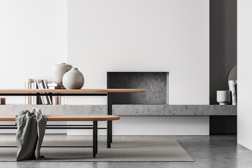 Light living room interior with table and bench, fireplace and mock up