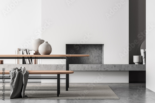 Light living room interior with table and bench, fireplace and mock up Fototapete