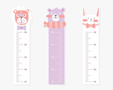 Kids Meter Wall With Cute Animals Set, Stadiometer For Little Children Vector Illustration