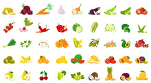 Set Of Fruits And Vegetables, Colorful Vector Icons In Flat Style, Isolated Graphic Design Elements, Collection For Websites, Mobile Applications, Web Banners, Infographics, Printed Materials.