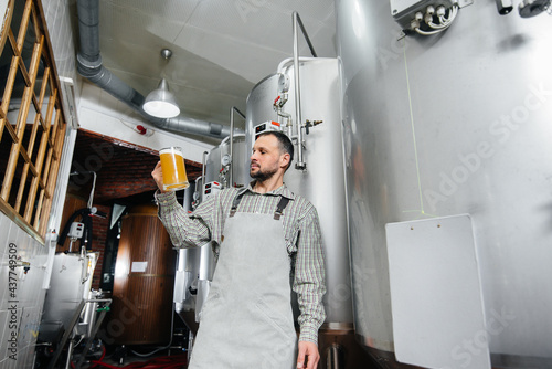 Canvastavla A young bearded brewer conducts quality control of freshly brewed beer in the brewery
