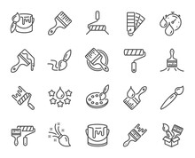 Paint Brushes Line Icons. Color Palette, Paint Tin Or Bucket, Roller Tool. Pantone Samples, Dye Quality, Creative Art Brush Line Icons. Finishing Work, Painter Tool And Dye Color Palette. Vector