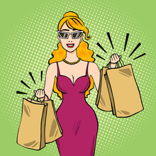 Smiling Caucasian Woman Holding Shopping Bags, Sale Concept Vector Illustration In Pop Art Retro Comic Style