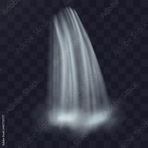 Realistic natural waterfall. Vector illustration isolated on transparent background. Wall mural