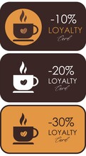 Set Of Coffee Loyalty Cards For Coffee Shop Or Cafe With Cup And Coffee Beans.