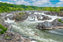 Kayakers On The Potomac River At The Great Falls