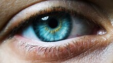 Closeup And Macro Image Of The Rare Light Blue-colored Human Eye. High Detailed With Selective Focus.