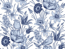 Spring Vintage Seamless Pattern. Flowers And Birds. Blue And White.  Vector.
