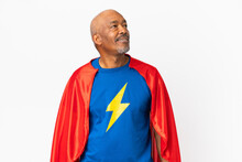 Super Hero Senior Man Isolated On White Background Thinking An Idea While Looking Up