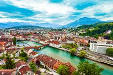 Lucerne City Aerial Panoramic View, Switzerland
