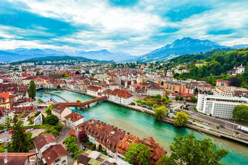 Carta da parati Lucerne city aerial panoramic view, Switzerland