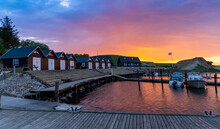 Colorful Sunset Over The Small Marina And Harbor At Ejerslev Lynd In Northern Jutland