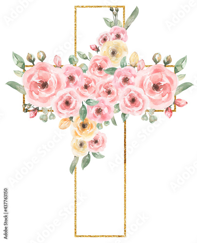 Fotografia Watercolor Easter Pink flowers Cross Clipart, Golden frame, Delicate Peony Flora