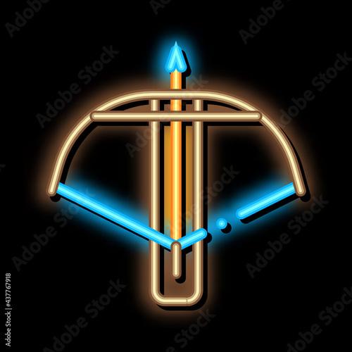 Crossbow Archery Equipment neon light sign vector Fototapet