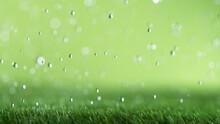 Freeze Motion Of Rain Drops Falling On Grass Texture