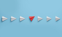 Change Concepts With Red Paper Airplane Between A Row Planes White. Think Different.
