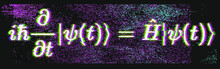Position-space Schrodinger Equation For A Single Nonrelativistic Particle In One Dimension. Conceptual Illustration Of The Particle Field In Pixel Art Style.