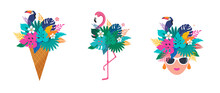 Summer Scene With Ice Cream Cone Filled With Jungle Exotic Leaves, Flamingo And Woman's Head. Hello Summer Concept Illustration, Background And Banner