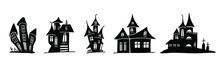 Silhouettes Of Scary Houses In Doodle Style. Vector Illustration Isolated On White Background