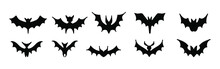 Big Set Of Black Silhouettes Of Bats, Vector Isolated On White Background