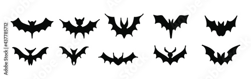 Canvastavla Big set of black silhouettes of bats, vector isolated on white background