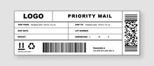 Delivery Label Mail For Post Package Or Shipping Document. Realistic International Postal Header Mockup For Priority Parcel With Company Logo Mark, Address And Caution Sign Vector Illustration