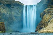 Iceland Waterfall, Skógafoss, Misty Day