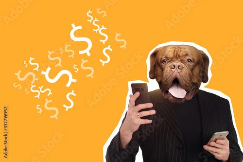 Art portrait of man with a dog head Fototapeta