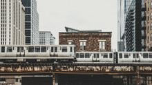 Train Subway View At Chicago, Vintage Chicago Skyline