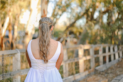 Fotografie, Obraz Debutante orBride, back view of dress and hairstyle