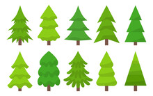 Trees In Warm Green Shades Vector Flat. Symmetrical Christmas Trees In Real And Abstract Shapes. Spruce And Pine, Fir. Greeting Card, Winter Holidays Christmas, New Year. Wrapping Paper For Gifts.