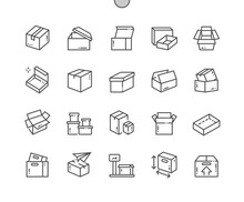 Carton Box. Open Box. Weight, Size, Send Box. Packaging, Transportation, Merchandise, Corrugated And Delivery. Pixel Perfect Vector Thin Line Icons. Simple Minimal Pictogram