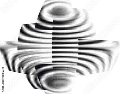 Logo with speed lines.Unusual icon Design .Black vector stripes .Geometric shape. Wall mural