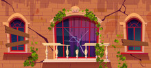 Ivy On Antique Abandoned Building Facade, Vines With Green Leaves Climbing At Boarded Up Windows And Broken Marble Balcony Railing. Vintage House Exterior With Cracked Wall Cartoon Vector Illustration