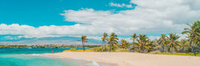 Hawaii Beach Panoramic Travel Banner Of Woman Tourist Walking On Secluded Shore In Waikoloa, Big Island, USA.