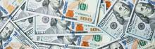 Dollar Bills Background. Pile Of American Money Cash. One Hundred Usd Dollars Banknotes.