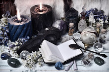 Grunge Still Life With Open Diary Book, Crystals, Flowers And Burning Candles.