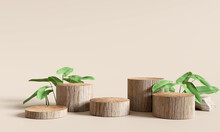 Wooden Product Display Podium With Nature Leaves On Brown Background. 3D Rendering