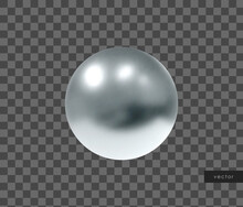 Vector 3d Geometric Object. Isolated Metallic Silver Sphere.