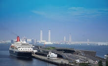 Passenger Ship Terminal And Bay Bridge At The Port Of Yokohama, Japan