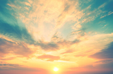 Colorful cloudy sky at sunset. Gradient color. Sky texture. Abstract nature background