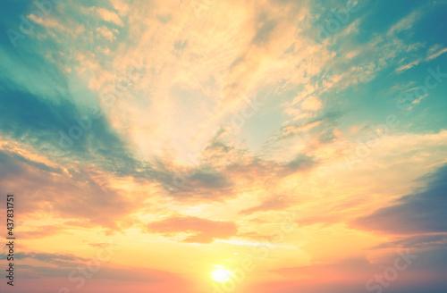 Fototapeta Colorful cloudy sky at sunset