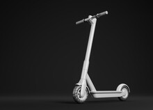 White Electric Kick Scooter Over Black Background. Eco Friendly City Transport Concept.
