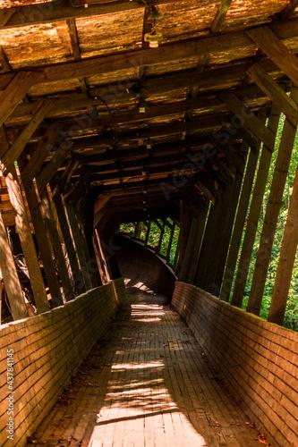 Billede på lærred Old and abandoned wooden bobsleigh and luge track in Murjani, Latvia