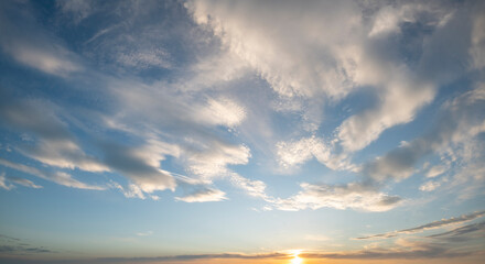 Beautiful sky at sunset, panorama