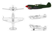 P-40 Warhawk / Kittyhawk WWII Fighter Aircraft. Vector Illustration In Black And White Line Drawing. Color Side Profile.