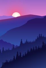 Mountain forest landscape. Sunset summer camping vector illustration.